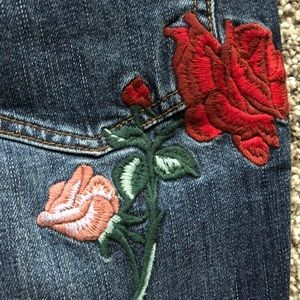 Free People Rose Embroidered Jeans